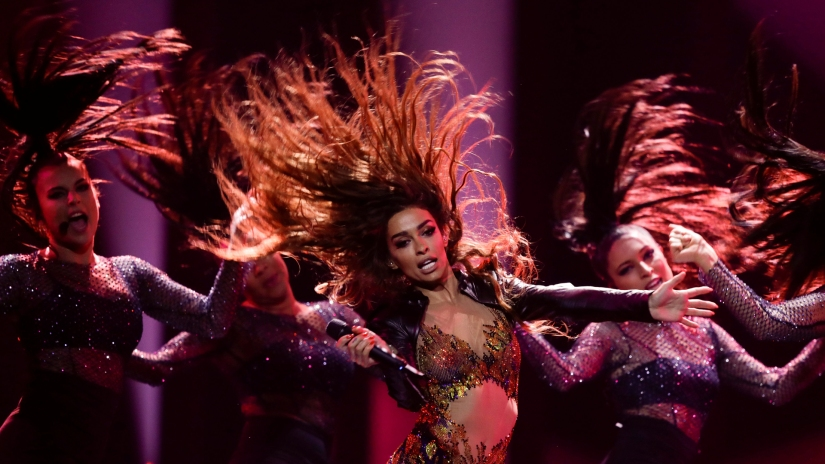 "Cyprus's Eleni Foureira performs ""Fuego"" during the dress rehearsal of Semi-Final 1 for Eurovision Song Contest 2018 at the Altice Arena hall in Lisbon"